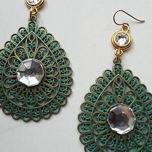 GASOLINE GLAMOUR Jewelry - GYPSY MEDALLION PATINA DROP MOONDUST EARRINGS NEW